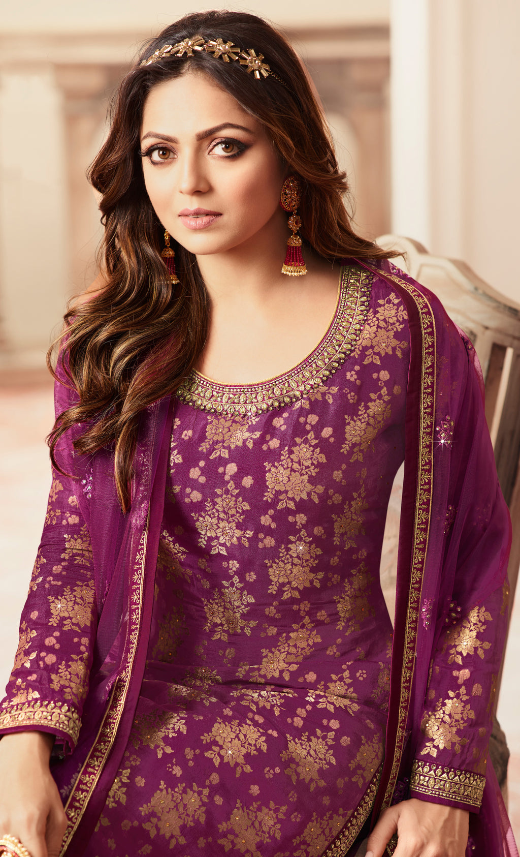 Purple Color Jacquard Silk Designer Semi- Stitched Sharara Suit NYF-8787