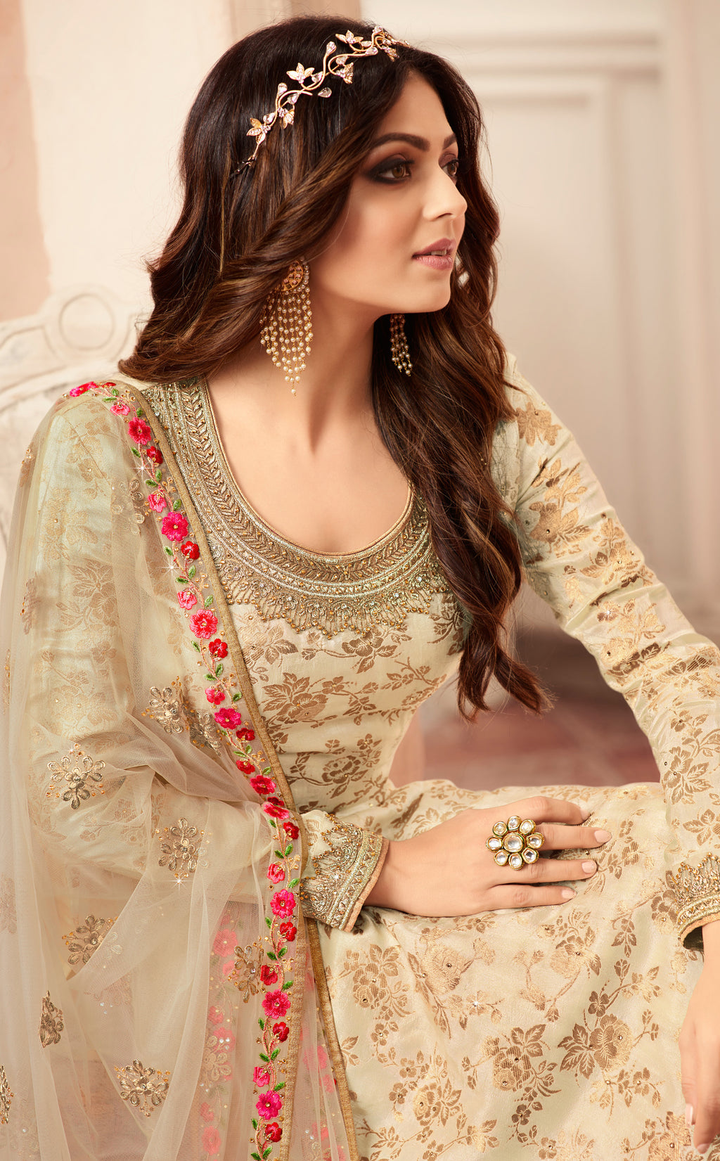 Cream Color Jacquard Silk Designer Semi- Stitched Sharara Suit NYF-8788