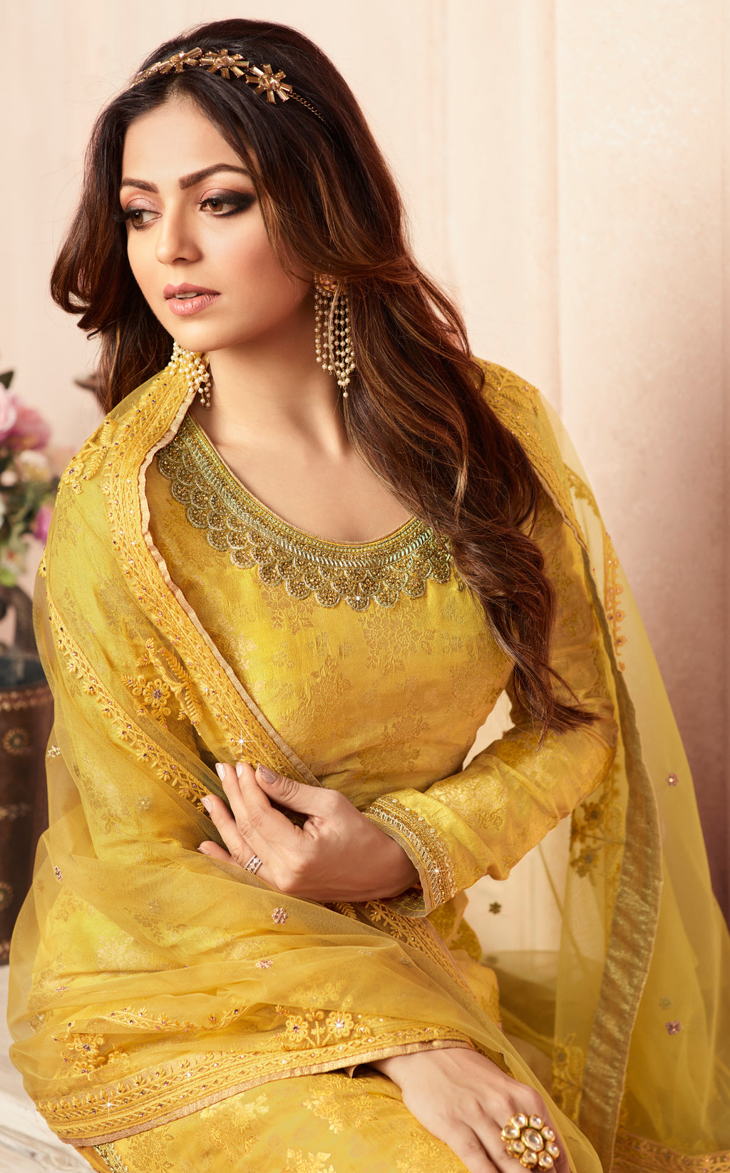 Yellow Color Jacquard Silk Designer Semi- Stitched Sharara Suit NYF-8789