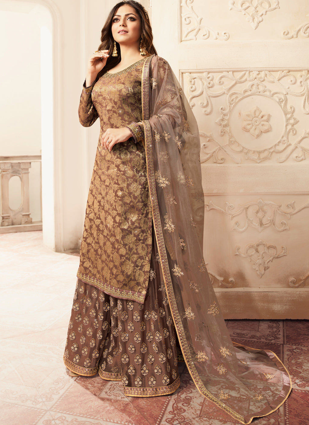 Brown Color Jacquard Silk Designer Semi- Stitched Sharara Suit NYF-8790