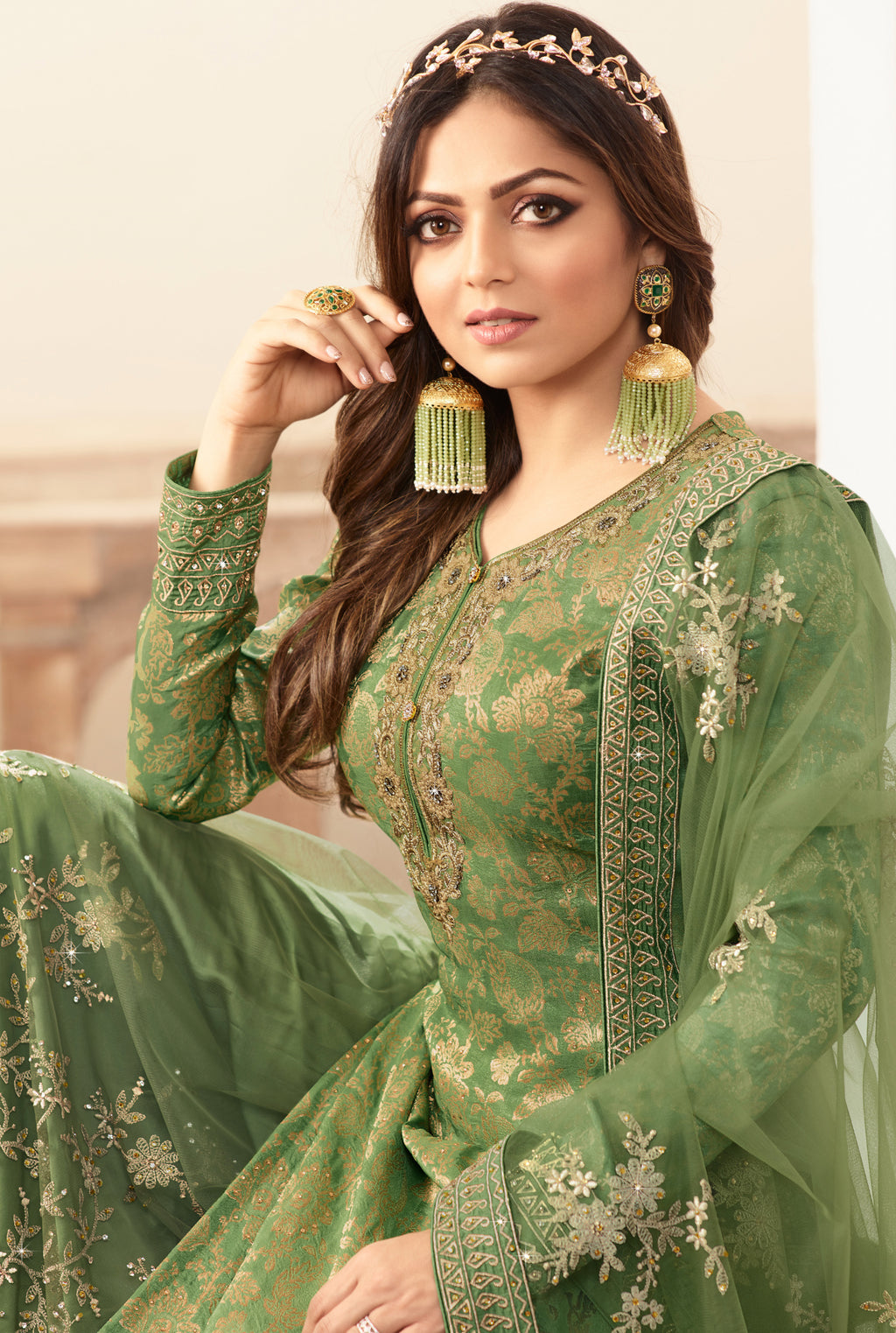 Green Color Jacquard Silk Designer Semi- Stitched Sharara Suit NYF-8791