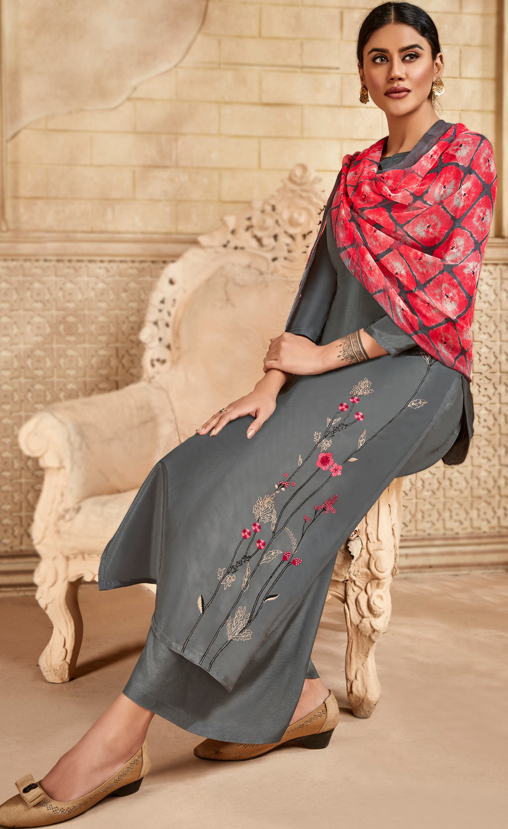 Grey Color Satin Silk Designer Semi- Stitched Straight Suit NYF-8792