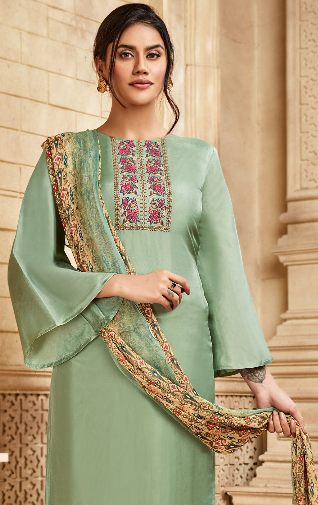 Aqua Green Color Satin Silk Designer Semi- Stitched Straight Suit NYF-8793