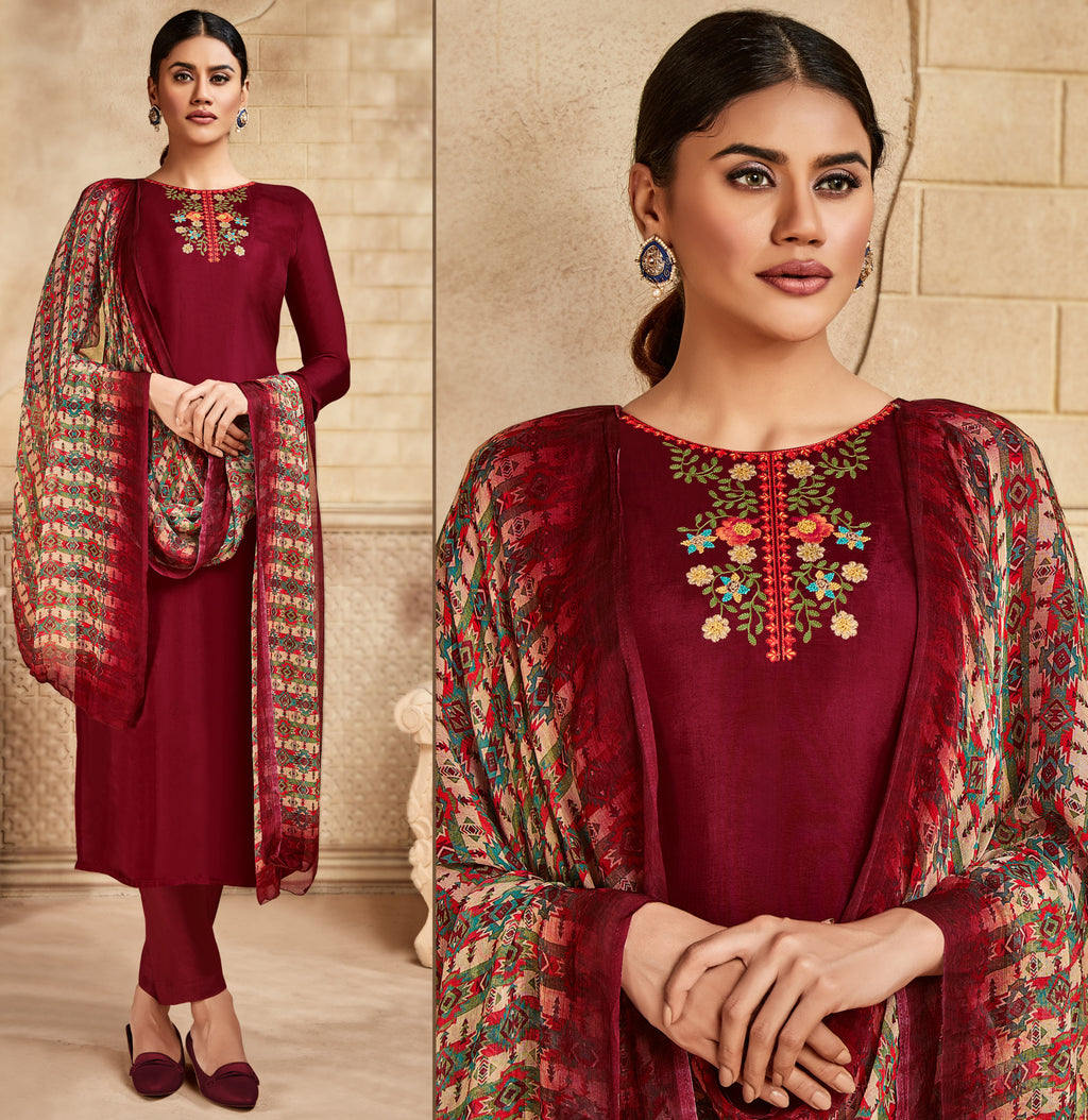 Maroon Color Satin Silk Designer Semi- Stitched Straight Suit NYF-8794