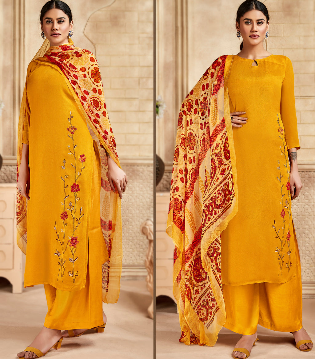 Yellow Color Satin Silk Designer Semi- Stitched Straight Suit NYF-8795