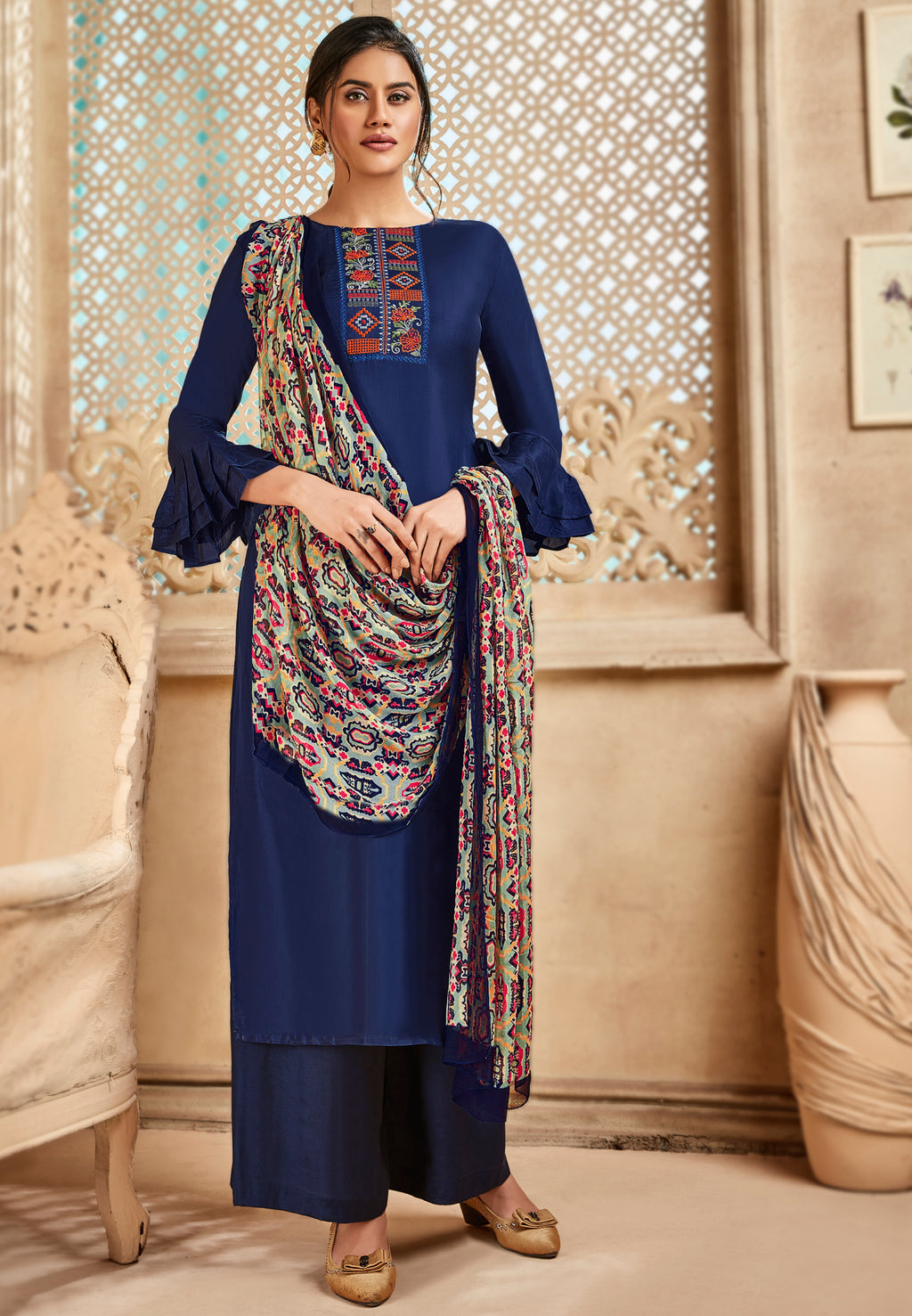 Royal Blue Color Satin Silk Designer Semi- Stitched Straight Suit NYF-8796