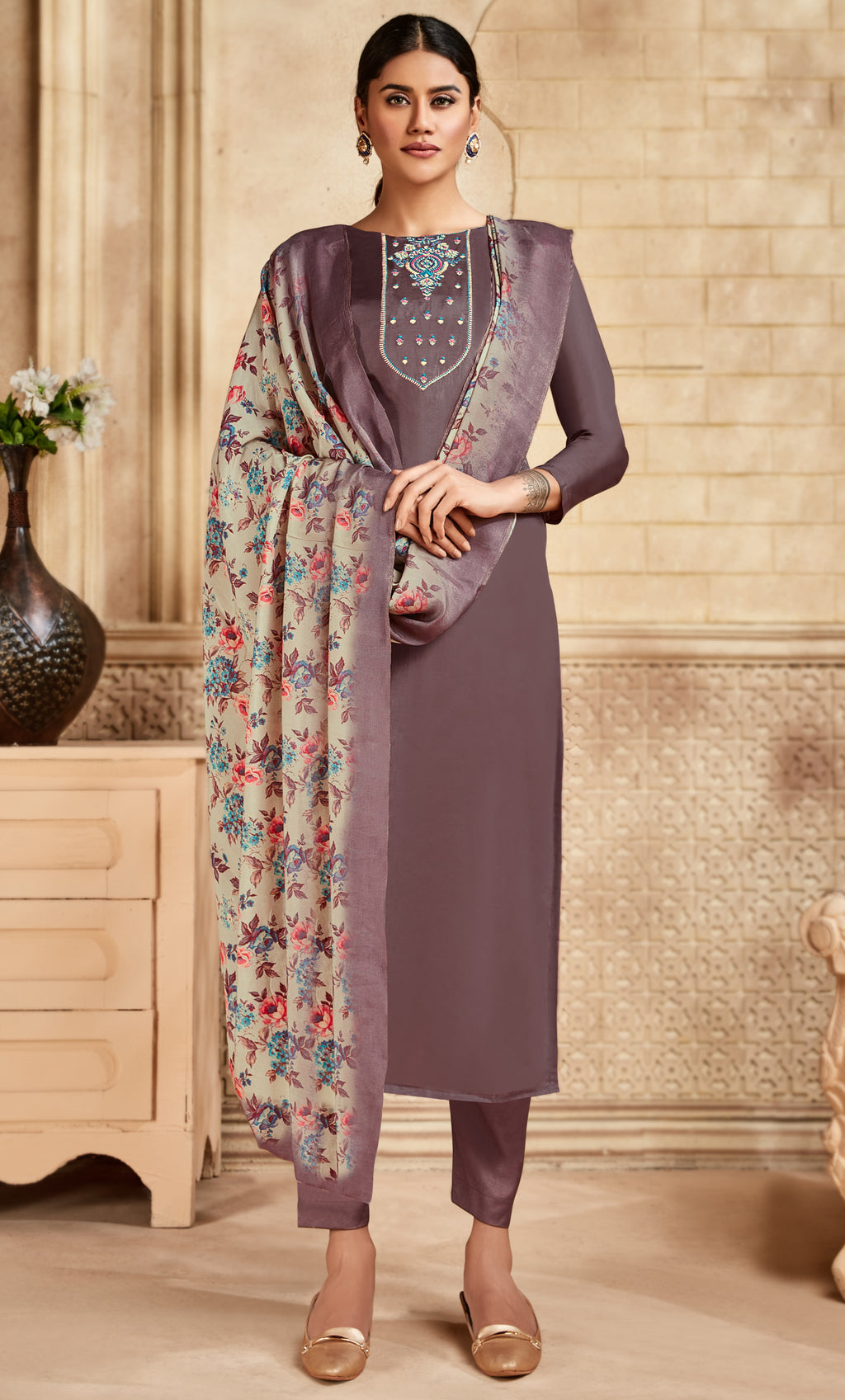 Lavender Color Satin Silk Designer Semi- Stitched Straight Suit NYF-8797
