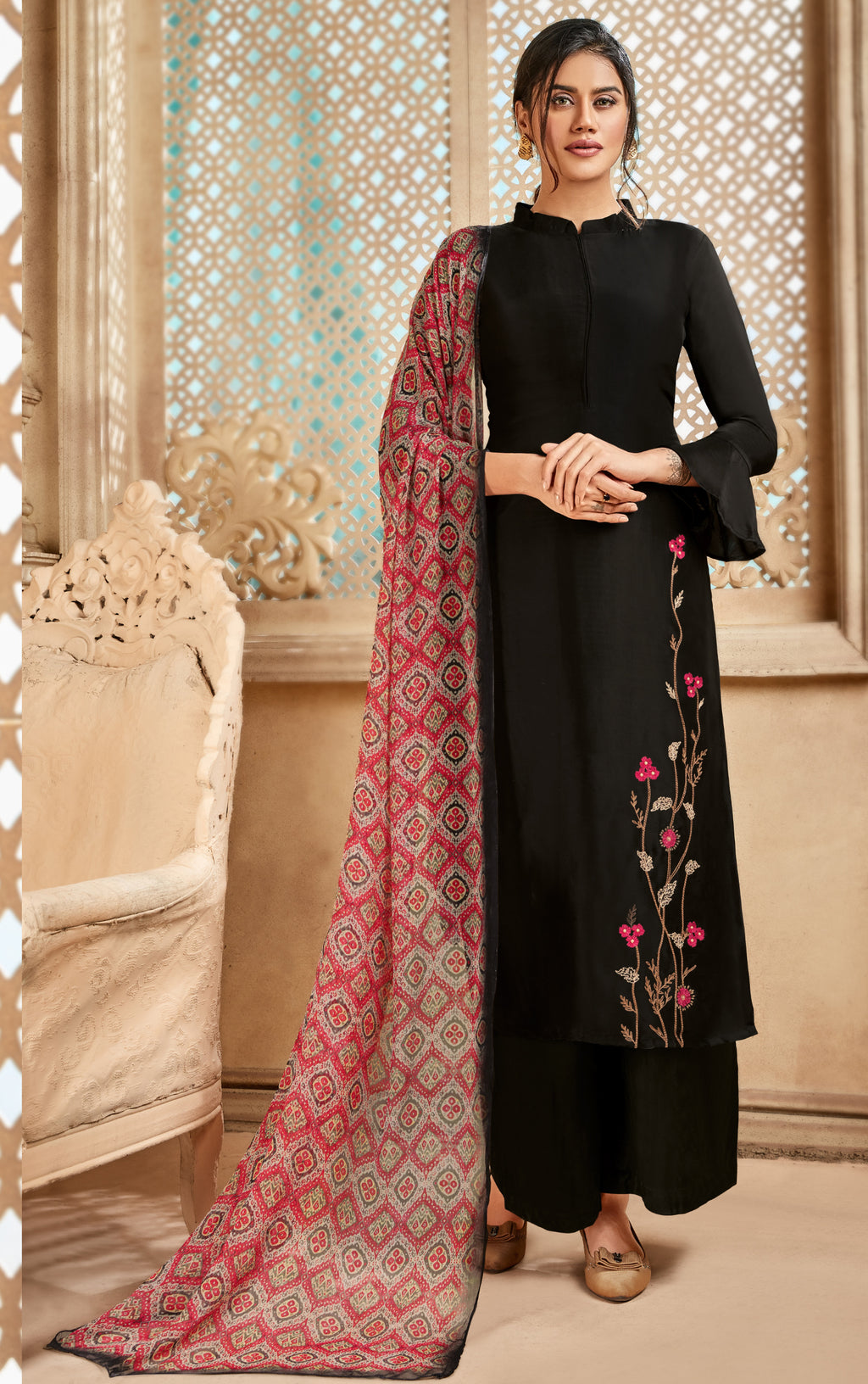 Black Color Satin Silk Designer Semi- Stitched Straight Suit NYF-8798