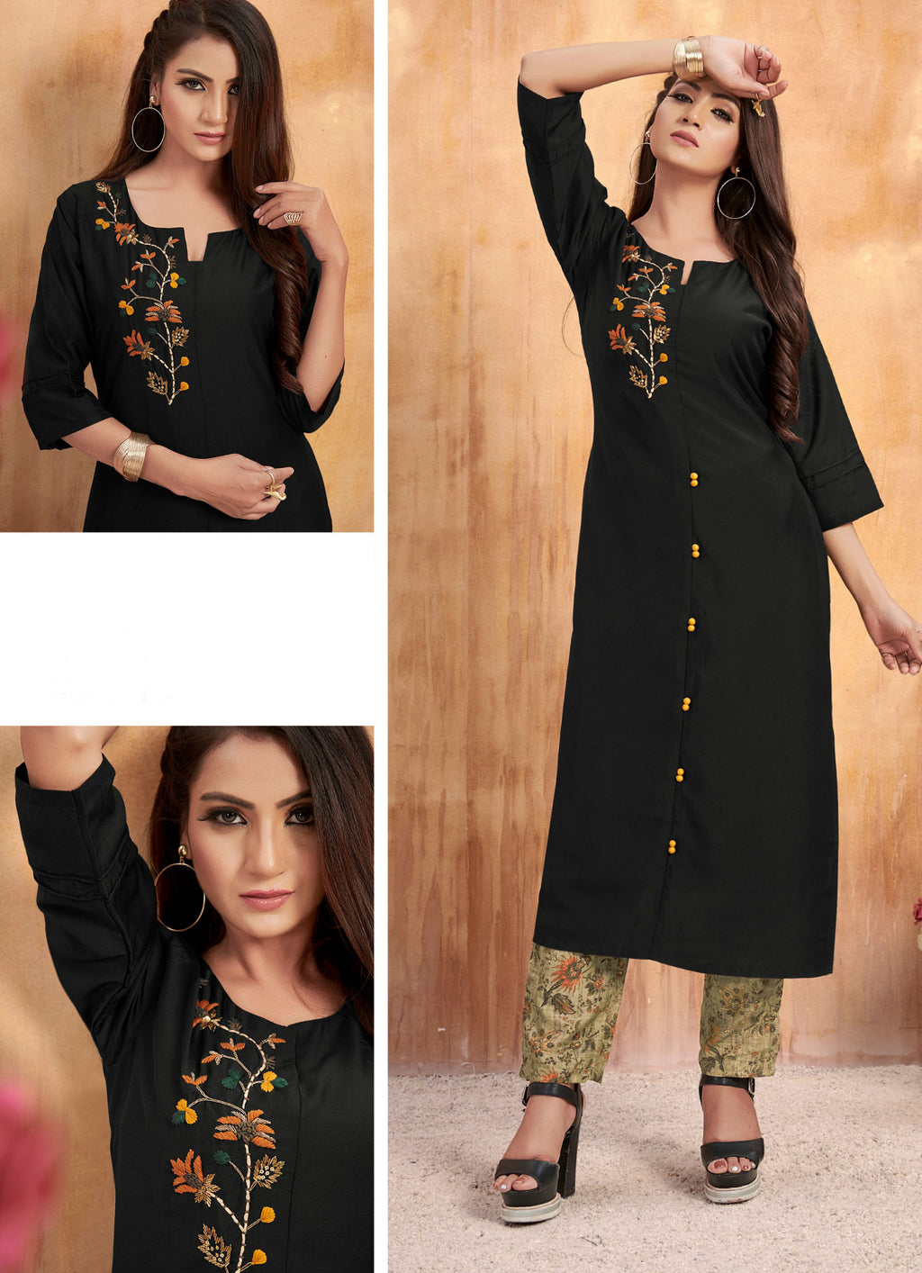 Black Color Mulsin Party Wear Kurti With Bottom NYF-9156