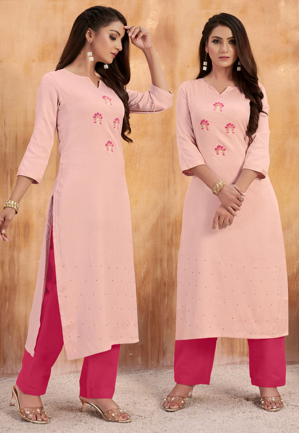 Baby Pink Color Cotton Slub Party Wear Kurti With Bottom NYF-9164