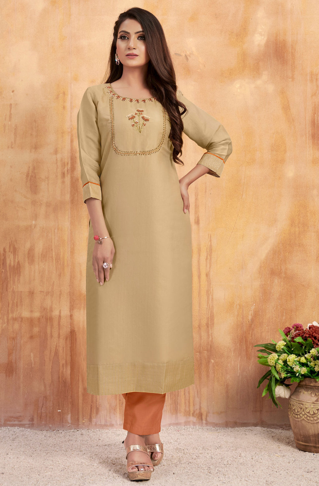 Beige Color Tusser Satin Party Wear Kurti With Bottom NYF-9168