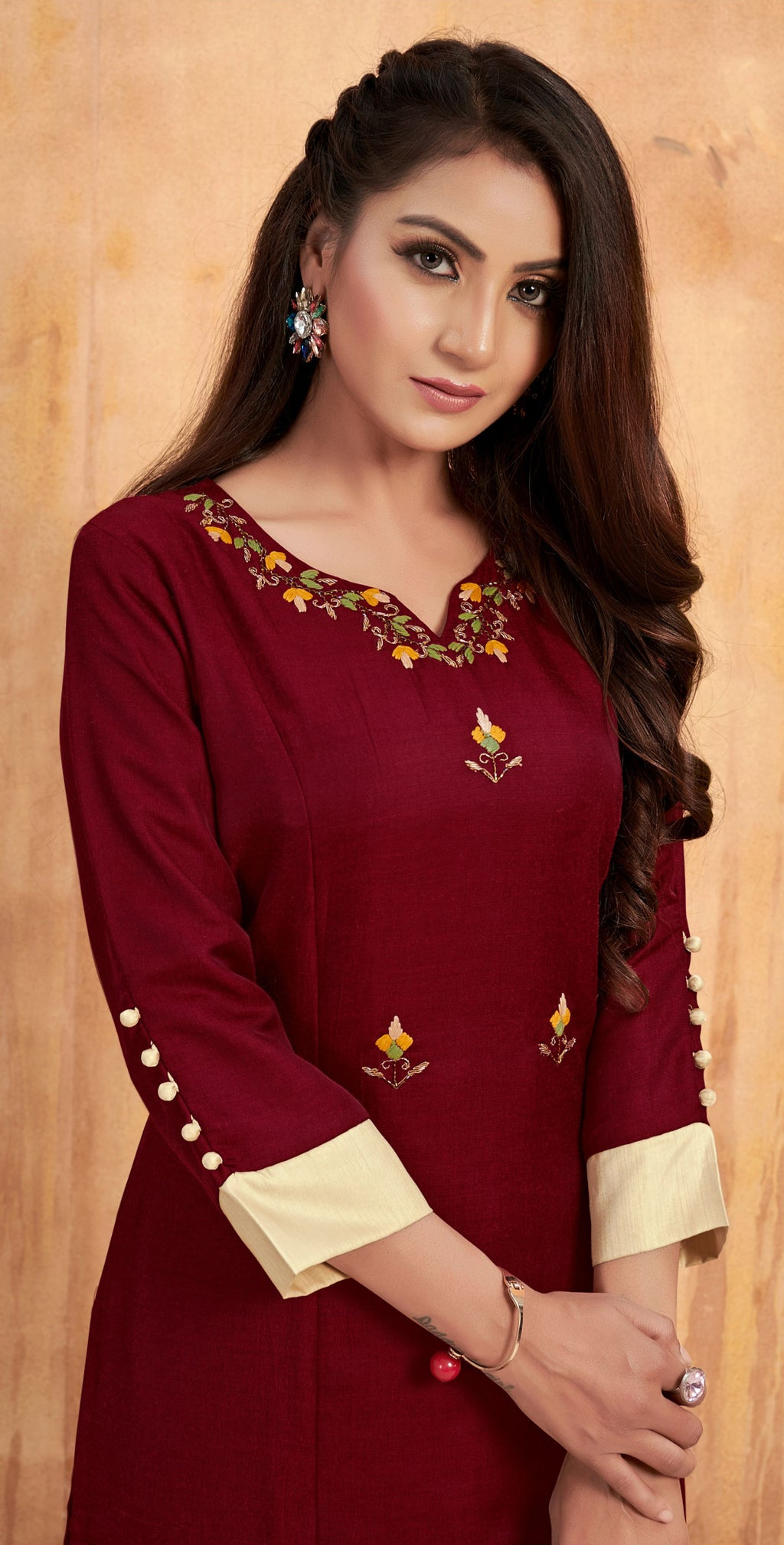 Maroon Color Tusser Satin Party Wear Kurti With Bottom NYF-9172