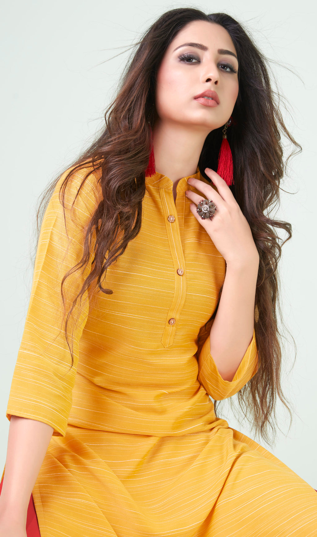 Yellow Color Cotton Daily Wear Kurtis NYF-9068