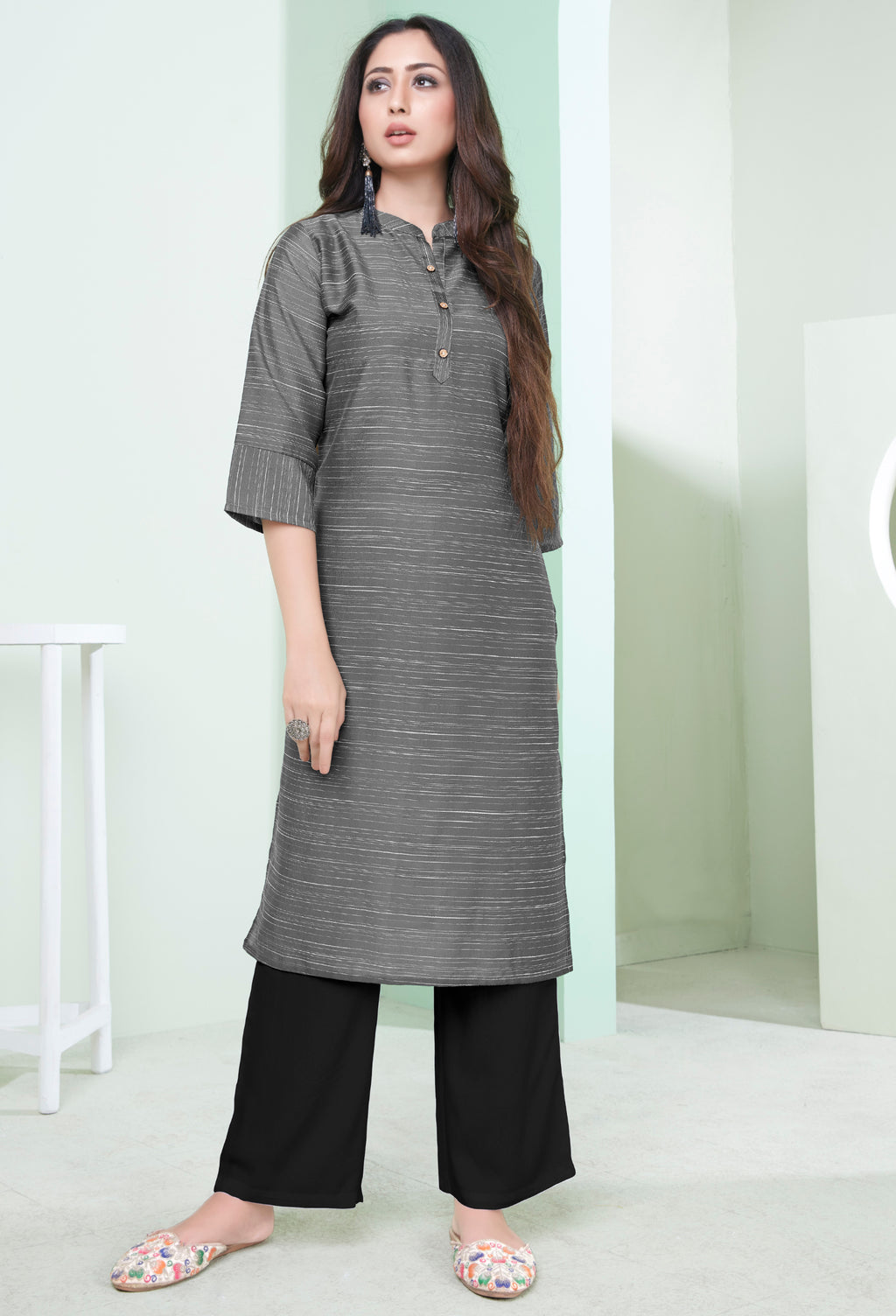 Grey Color Cotton Daily Wear Kurtis NYF-9080