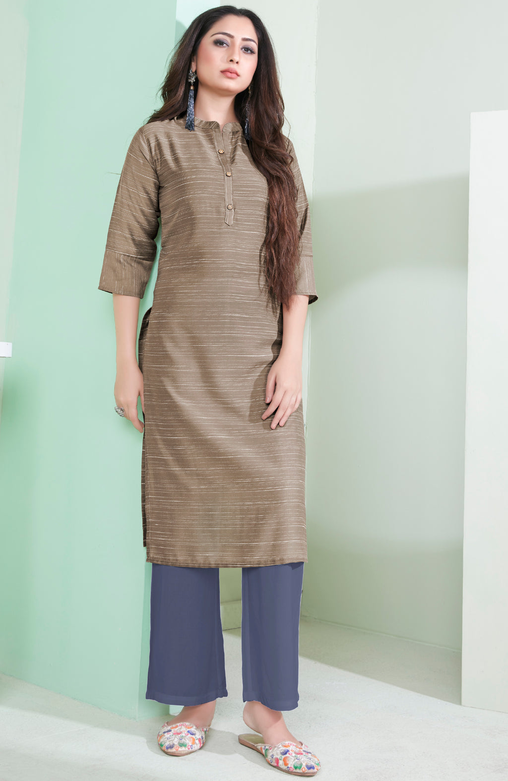 Mud Color Cotton Daily Wear Kurtis NYF-9084