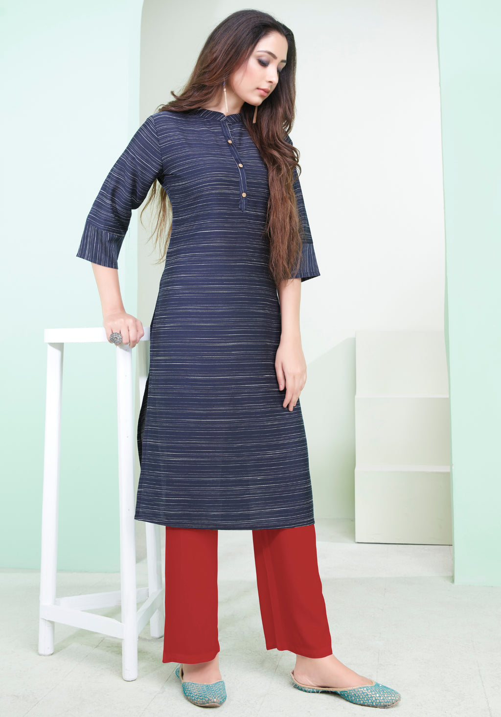 Blue Color Cotton Daily Wear Kurtis NYF-9088