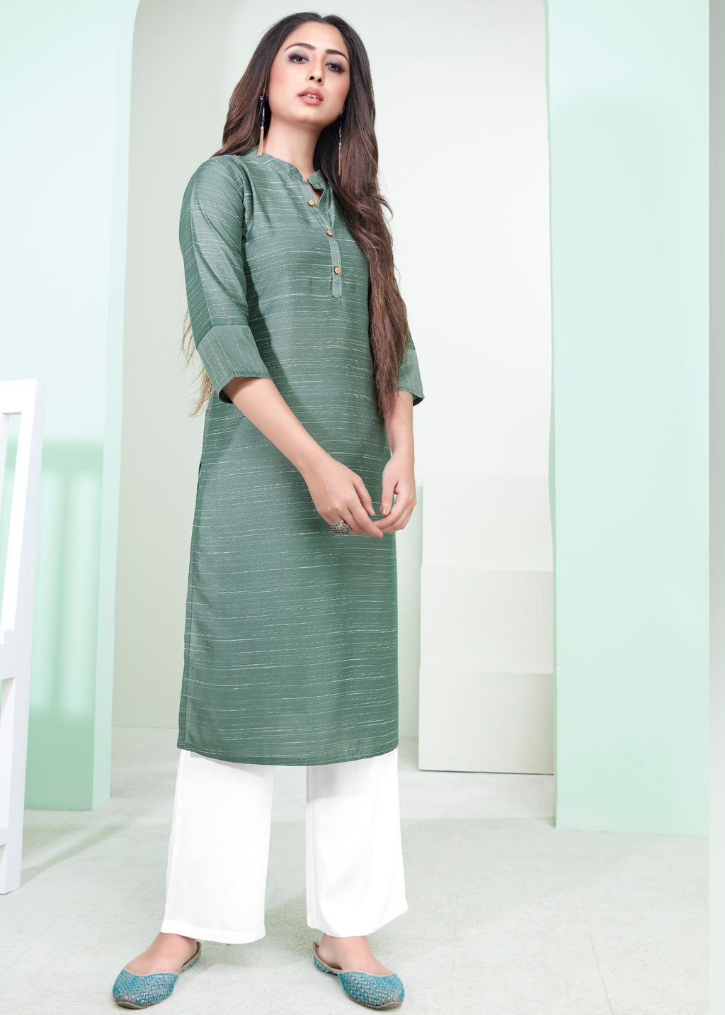 Aqua Green Color Cotton Daily Wear Kurtis NYF-9092