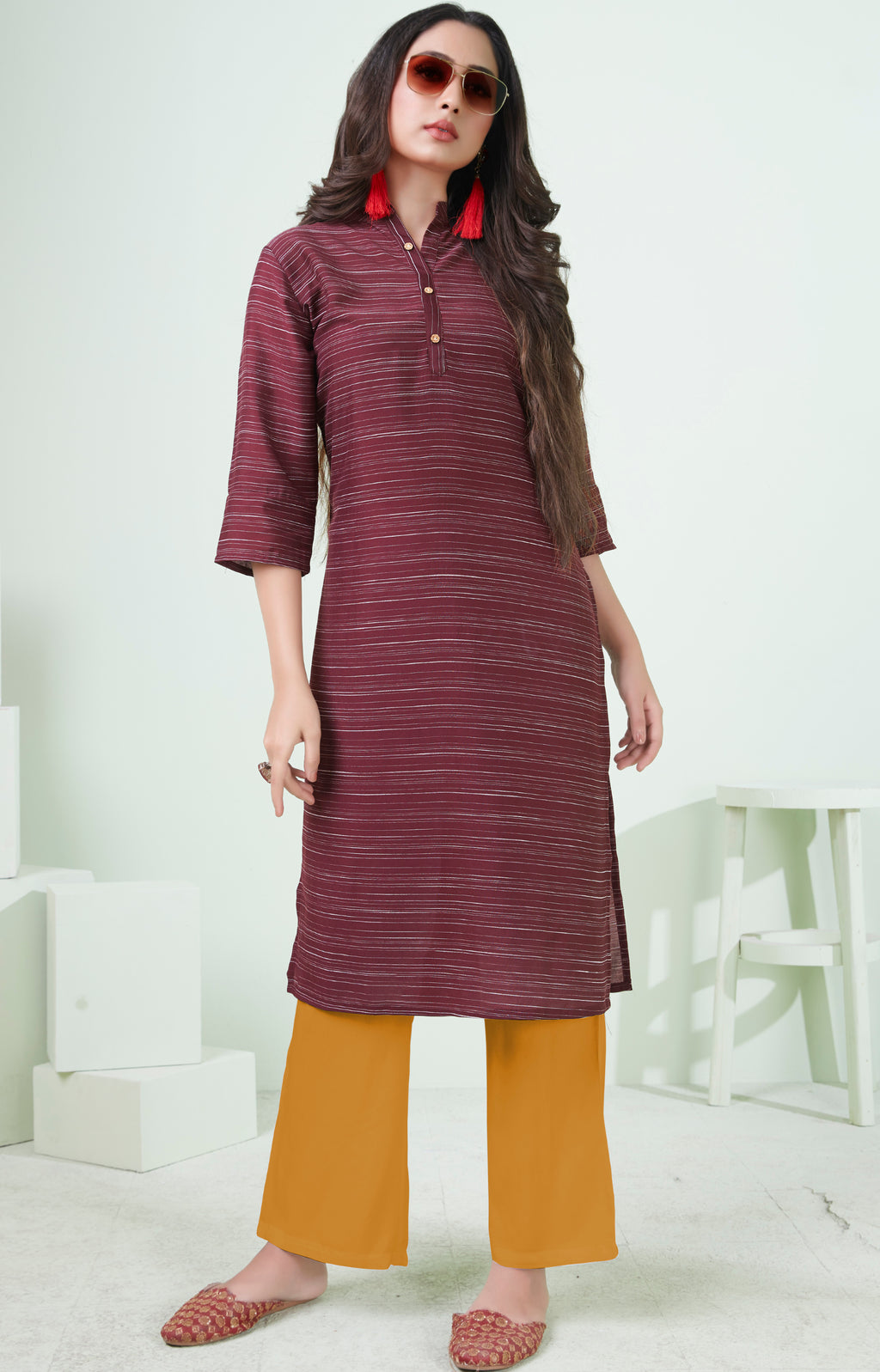 Maroon Color Cotton Daily Wear Kurtis NYF-9096