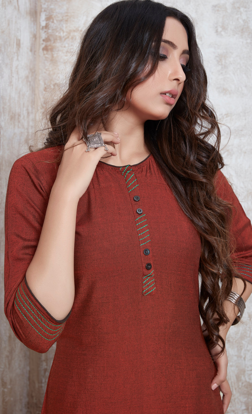 Rust Brown Color Rayon Daily Wear Kurtis NYF-9100