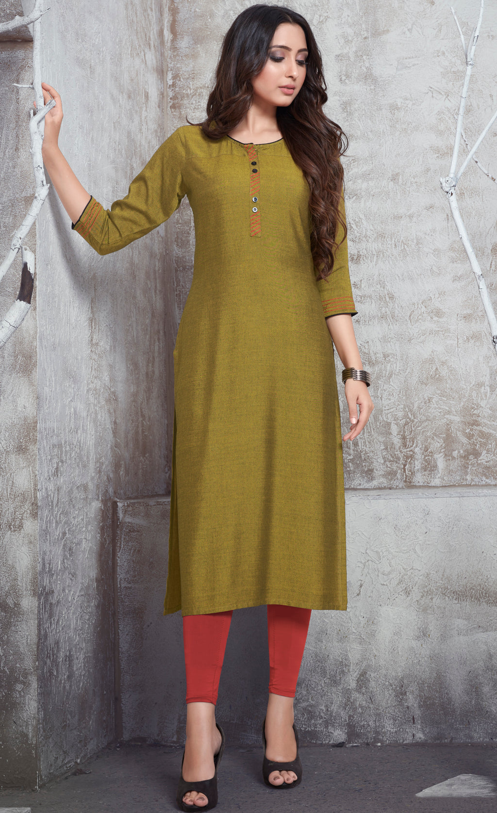 Olive Green Color Rayon Daily Wear Kurtis NYF-9104