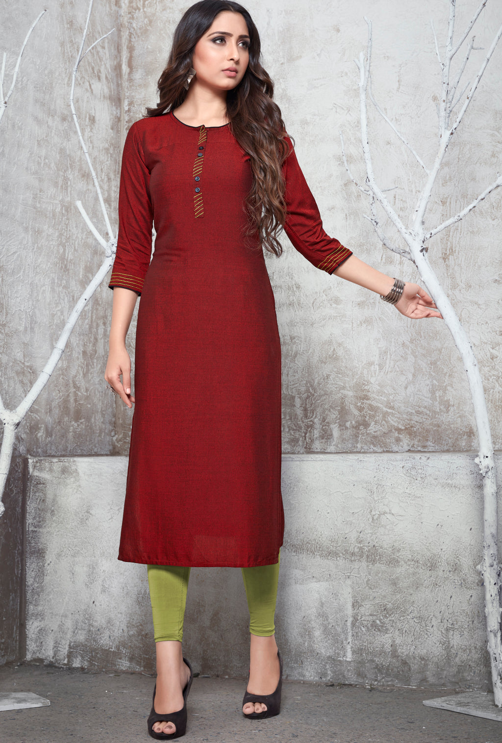 Red Color Rayon Daily Wear Kurtis NYF-9108