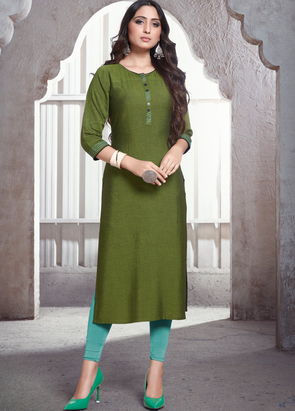 Green Color Rayon Daily Wear Kurtis NYF-9112