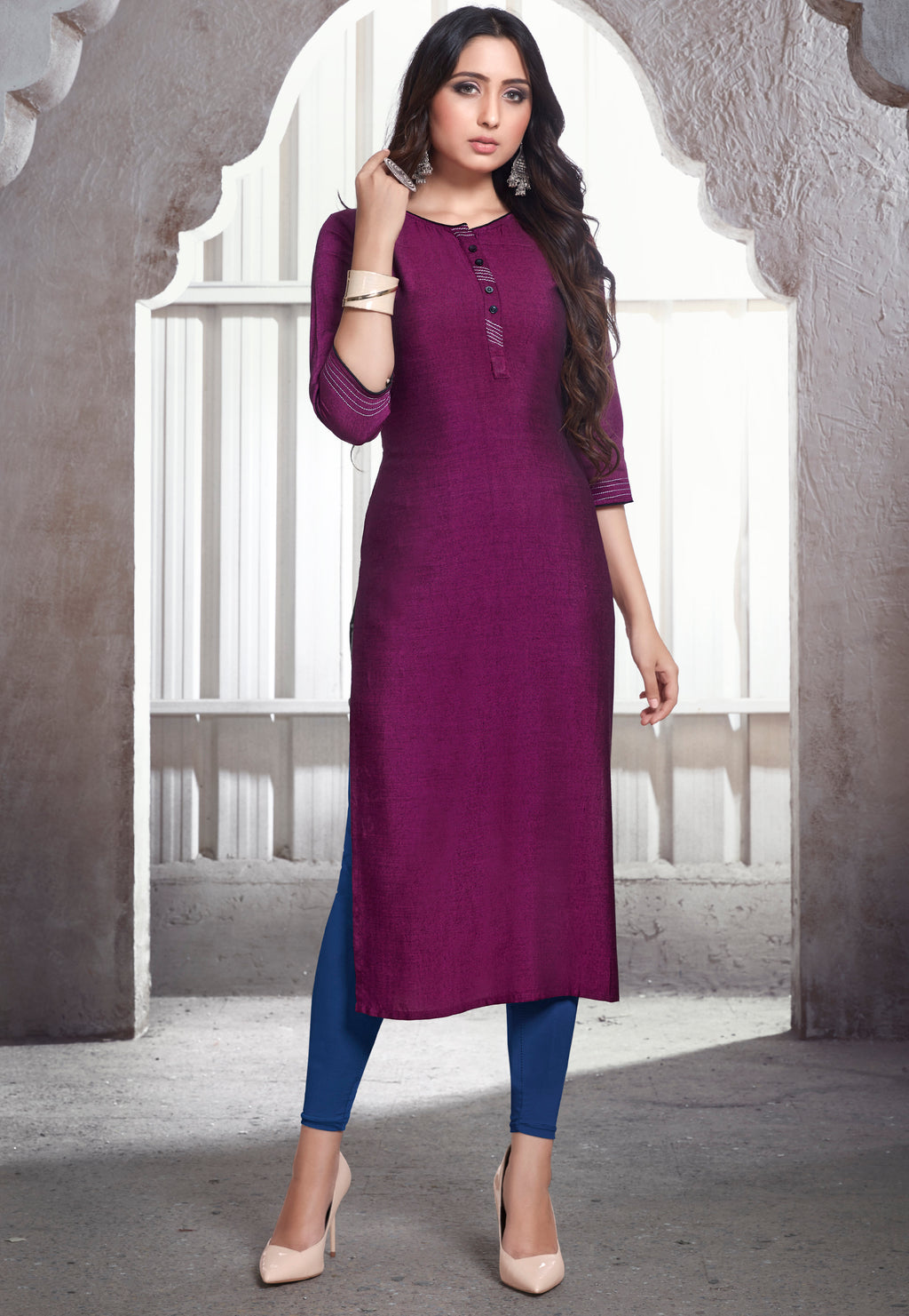 Purple Color Rayon Daily Wear Kurtis NYF-9116