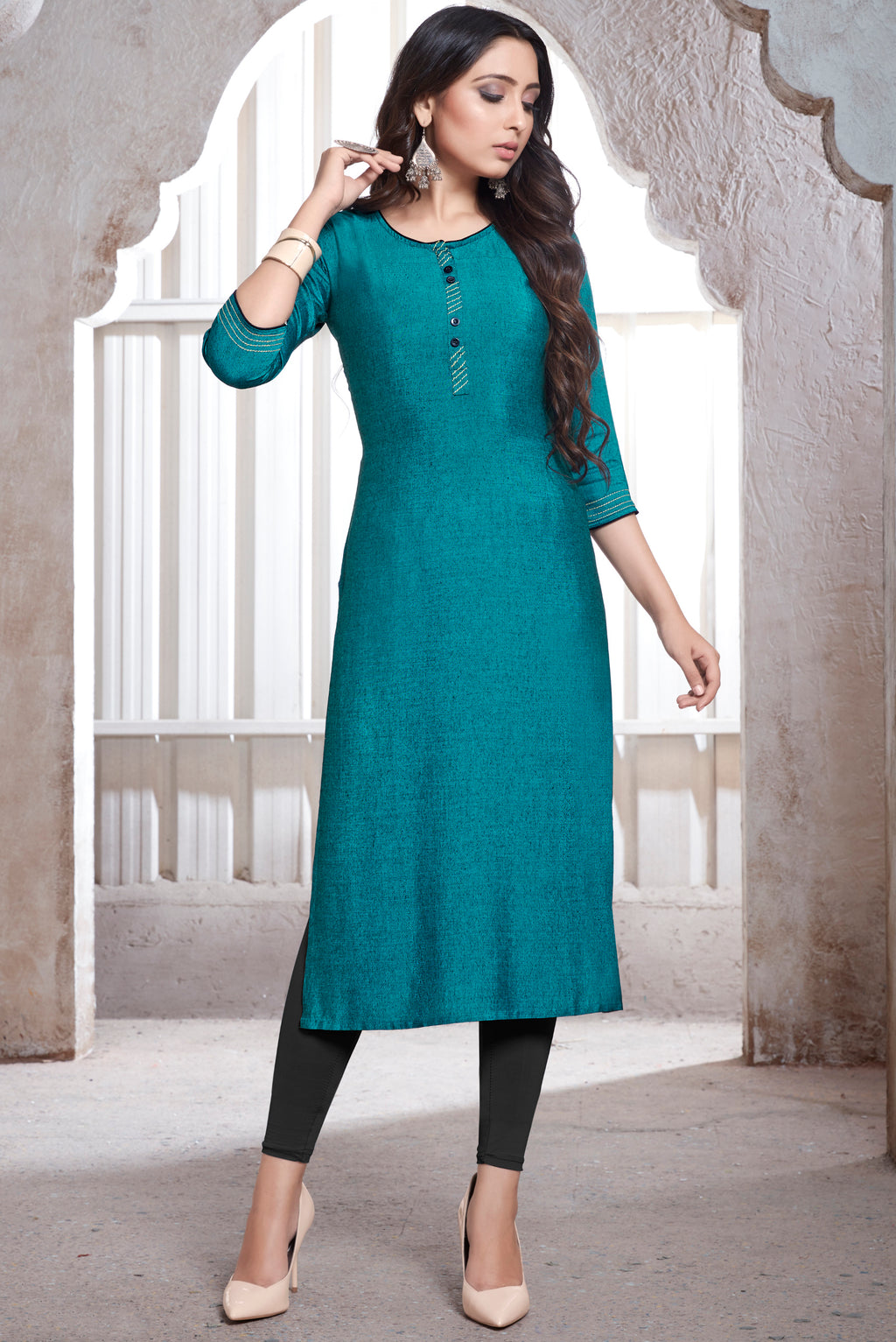 Firozi Color Rayon Daily Wear Kurtis NYF-9120