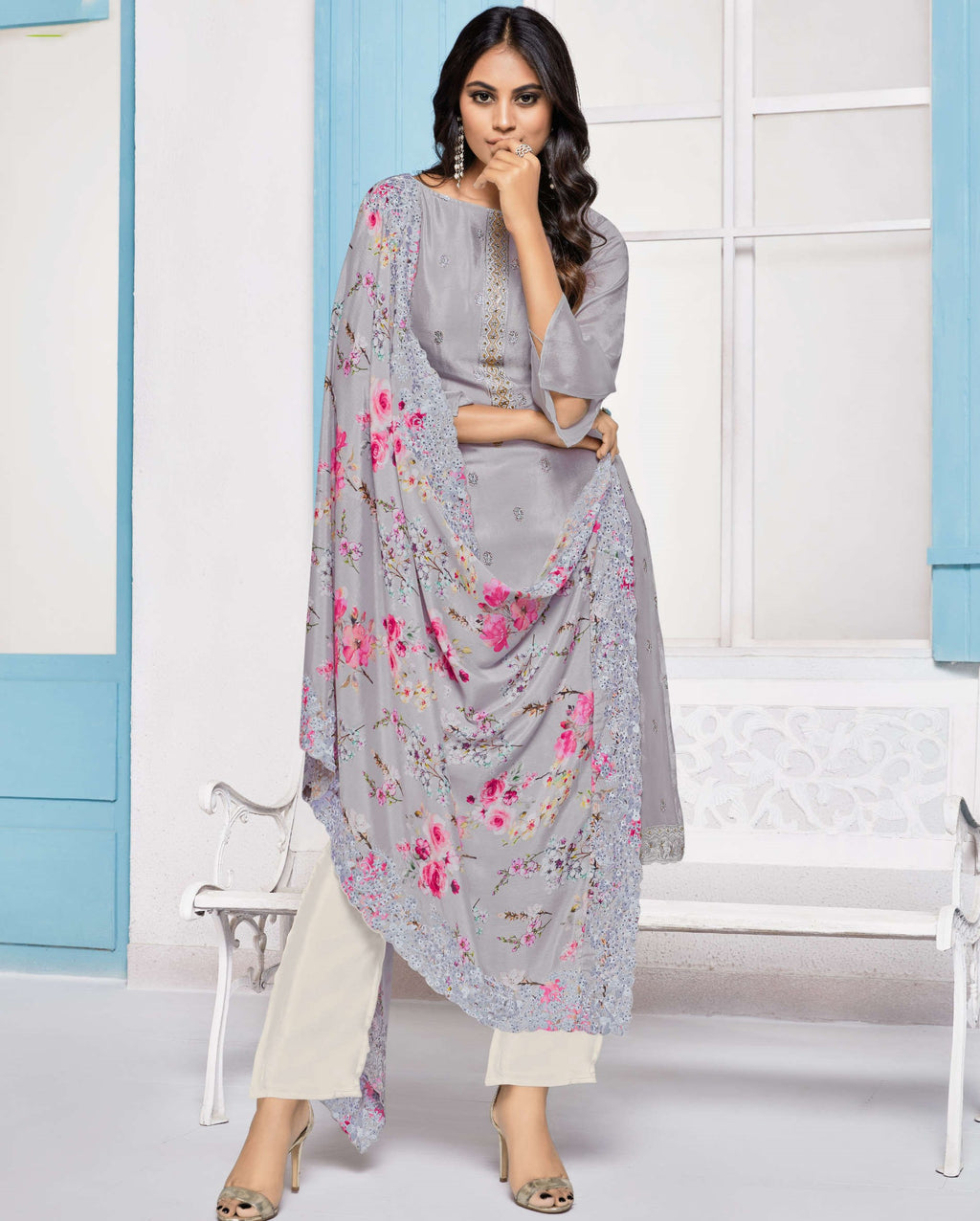 Grey Color Chinon Function Wear Semi-Stitched Suits NYF-9184