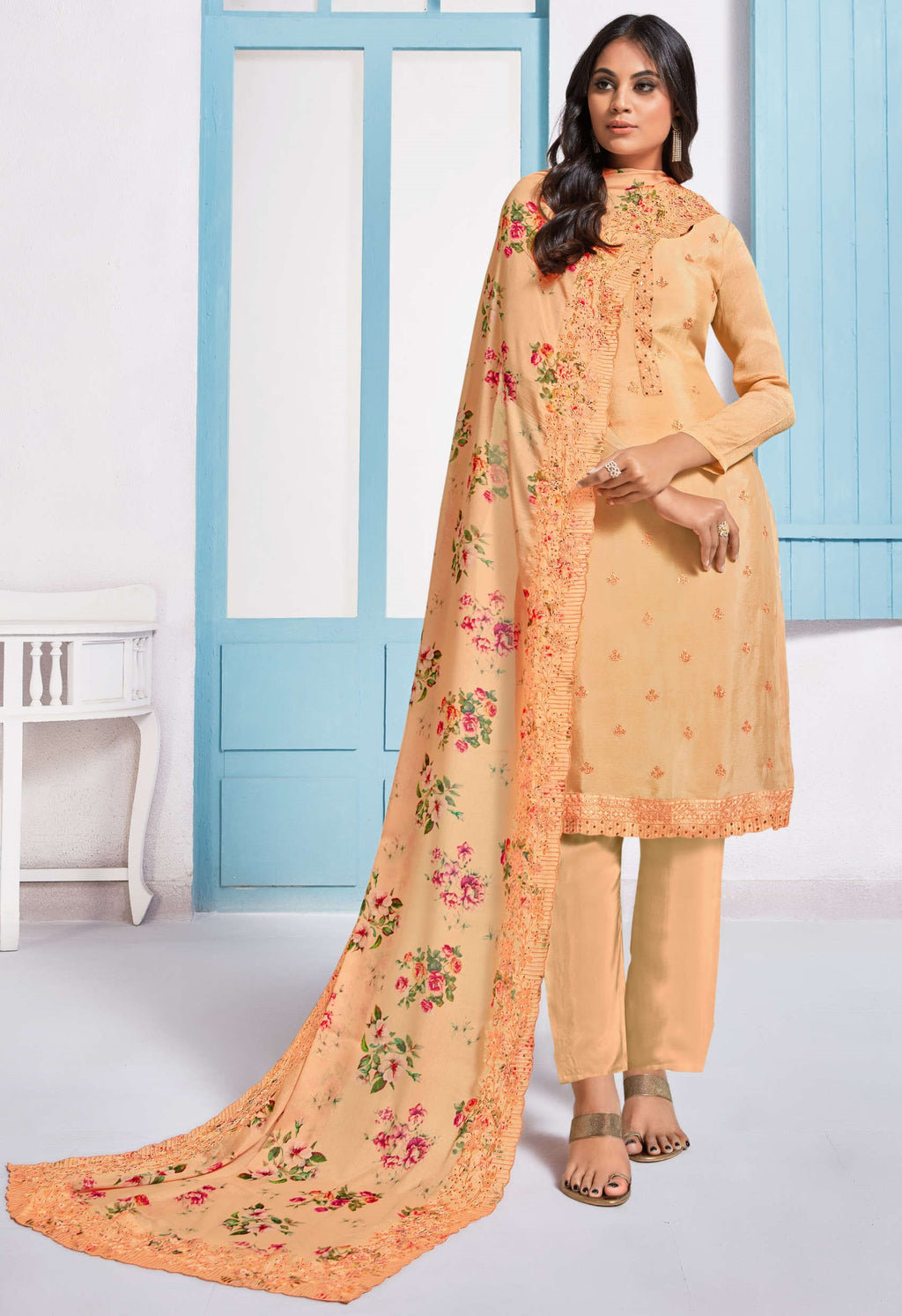 Orange Color Chinon Function Wear Semi-Stitched Suits NYF-9185