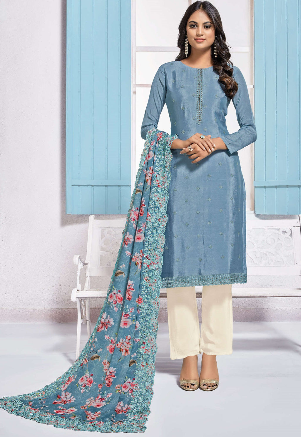 Blue Color Chinon Function Wear Semi-Stitched Suits NYF-9186