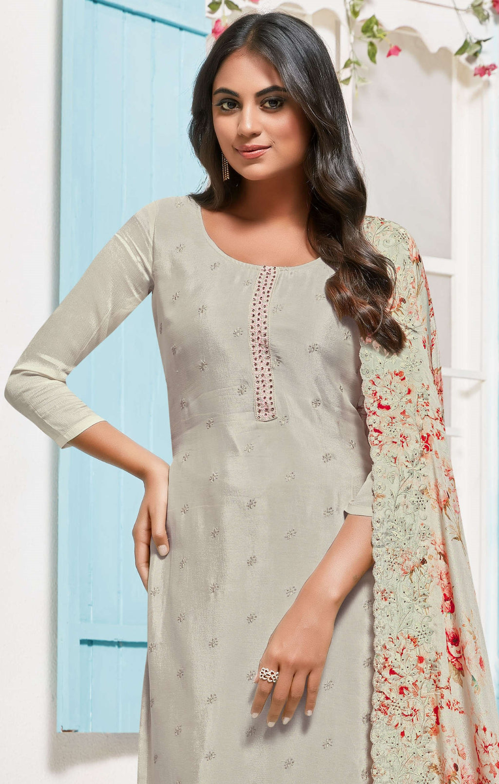Grey Color Chinon Function Wear Semi-Stitched Suits NYF-9187