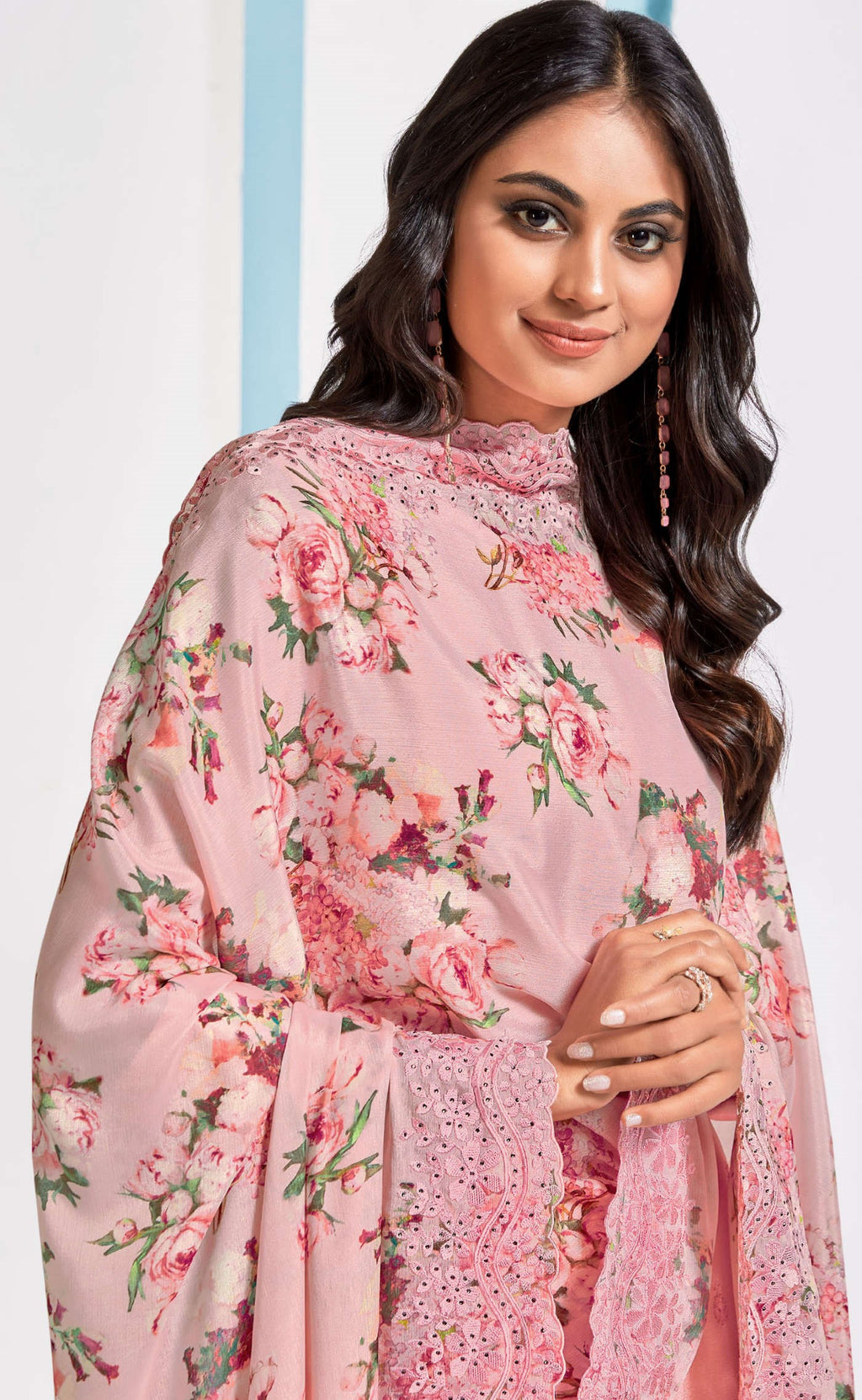 Pink Color Chinon Function Wear Semi-Stitched Suits NYF-9188