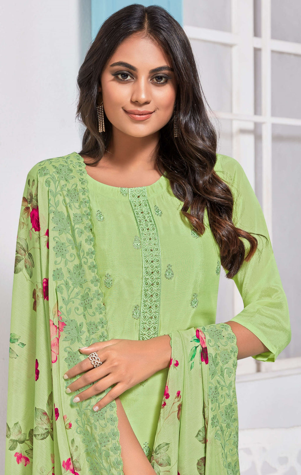 Pastel Green Color Chinon Function Wear Semi-Stitched Suits NYF-9189