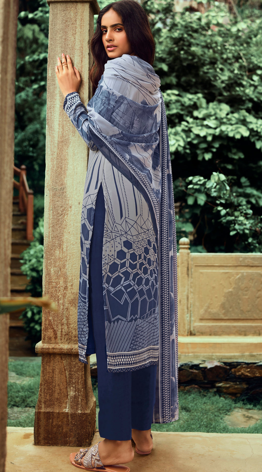 Blue & Grey Color Crepe UnStitched Dress Material / Suit NYF-9202