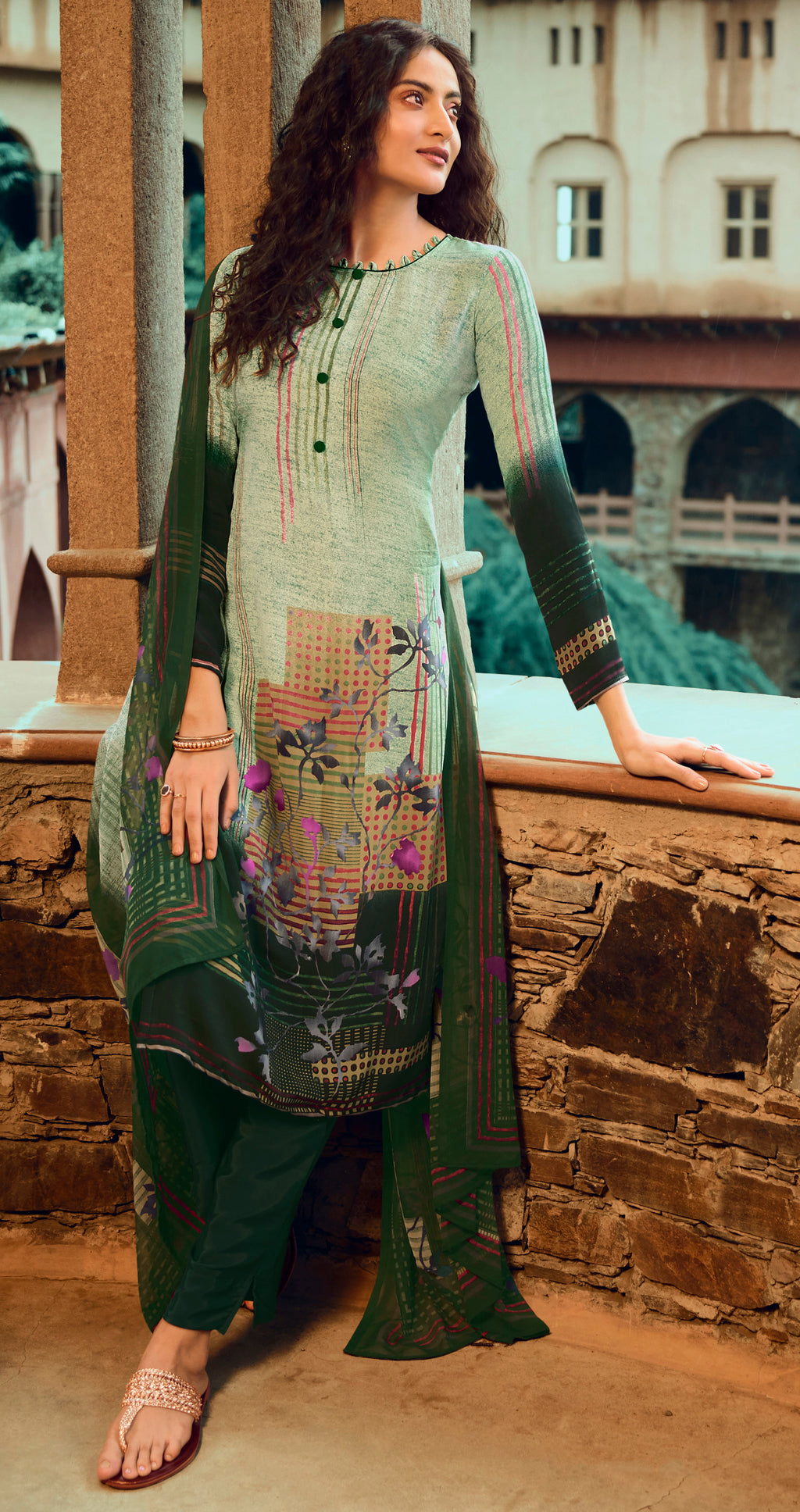 Green Color Crepe UnStitched Dress Material / Suit NYF-9203