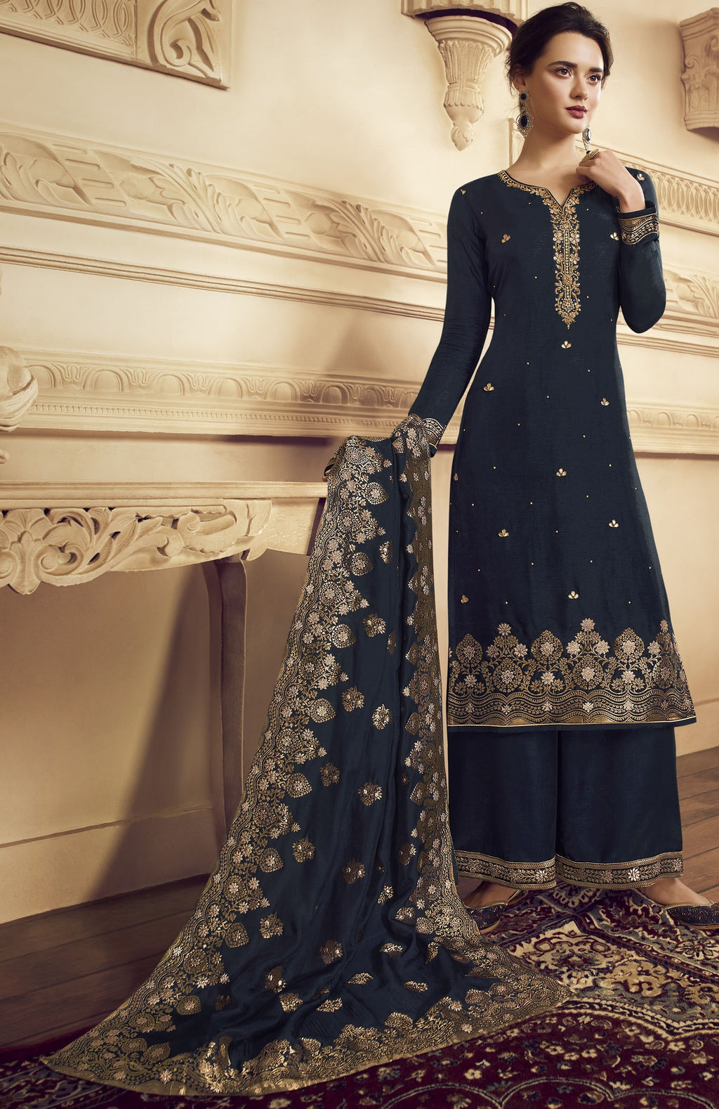 Navy Blue Color Crepe Function Wear Semi-Stitched Suits NYF-9180