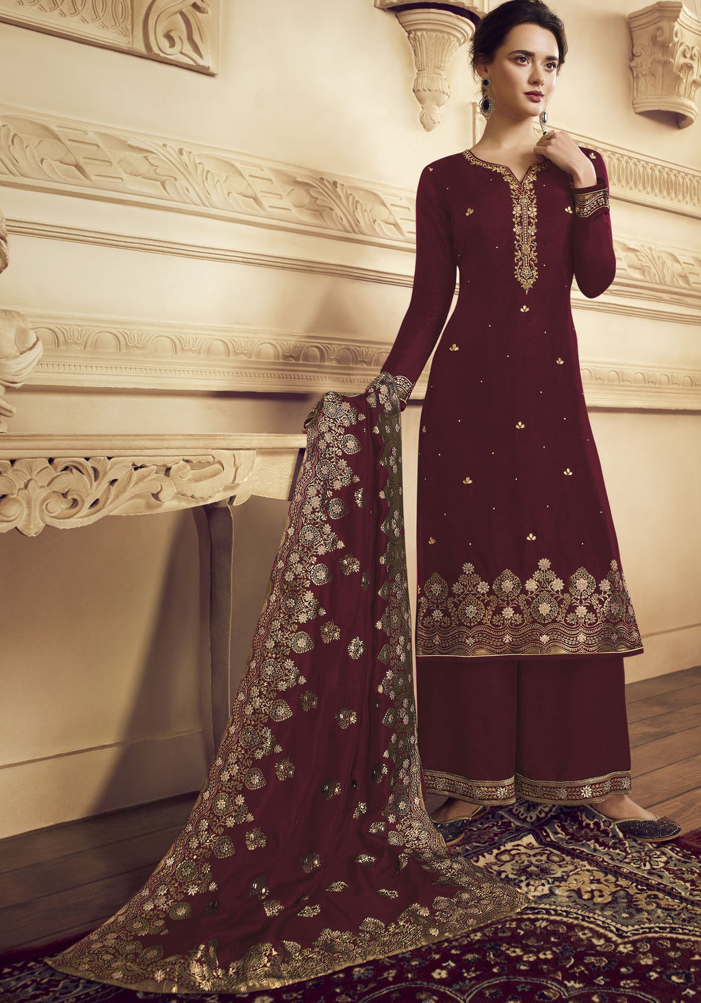 Maroon Color Crepe Function Wear Semi-Stitched Suits NYF-9181