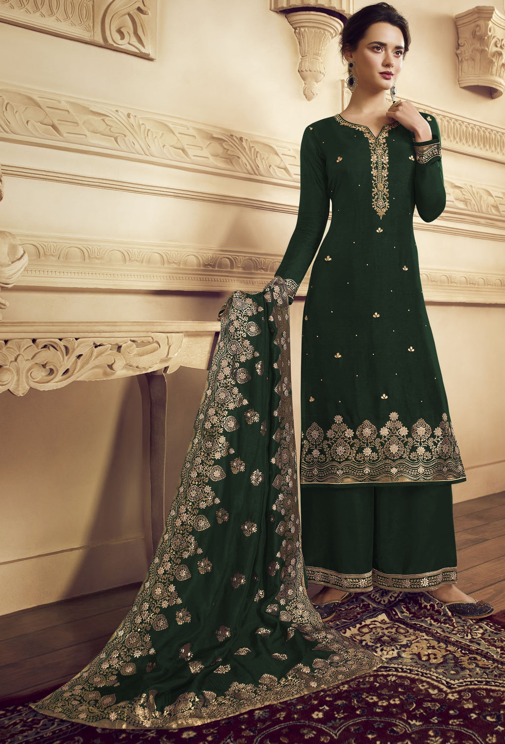 Green Color Crepe Function Wear Semi-Stitched Suits NYF-9182