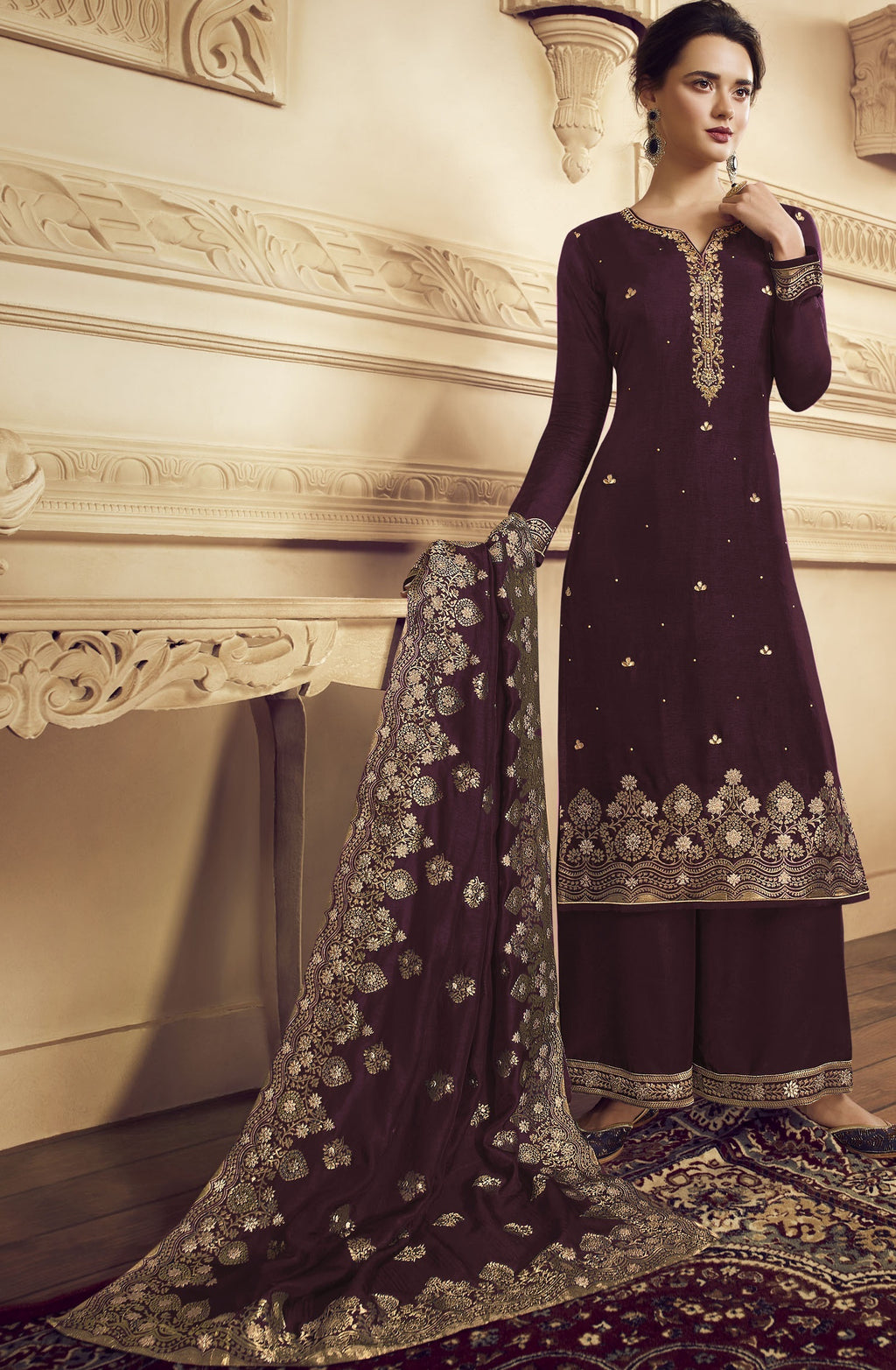 Wine Color Crepe Function Wear Semi-Stitched Suits NYF-9183