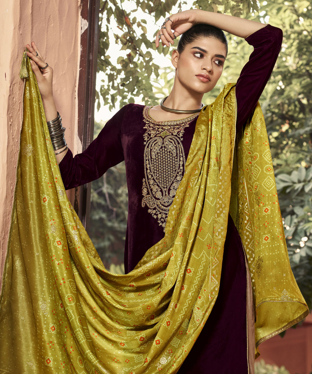 Wine Color Velvet Function Wear Semi-Stitched Suits NYF-9190