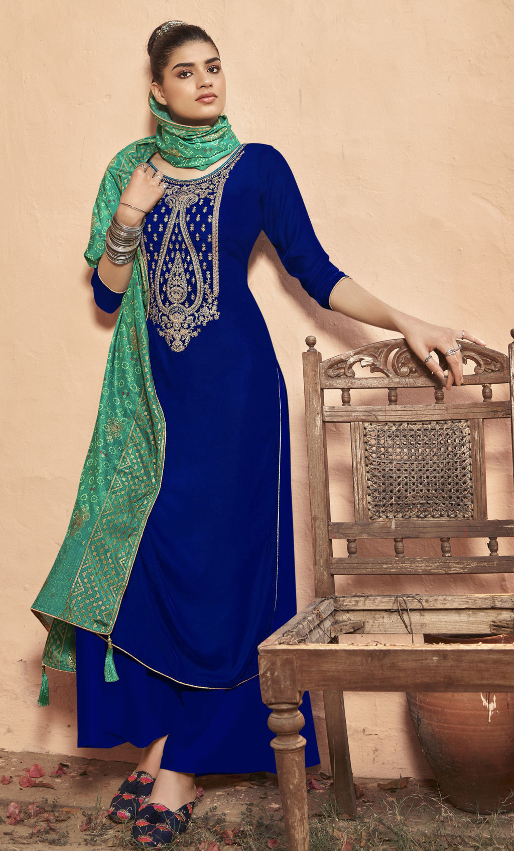 Blue Color Velvet Function Wear Semi-Stitched Suits NYF-9191
