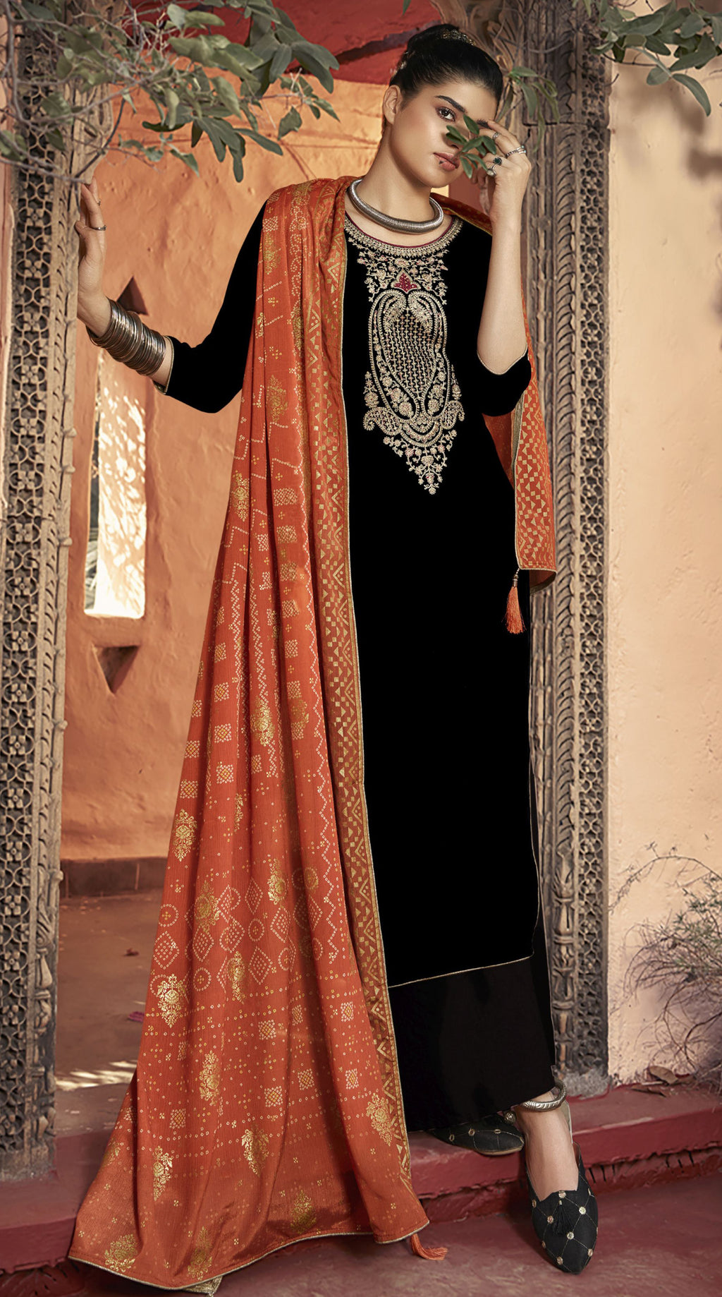 Black Color Velvet Function Wear Semi-Stitched Suits NYF-9192