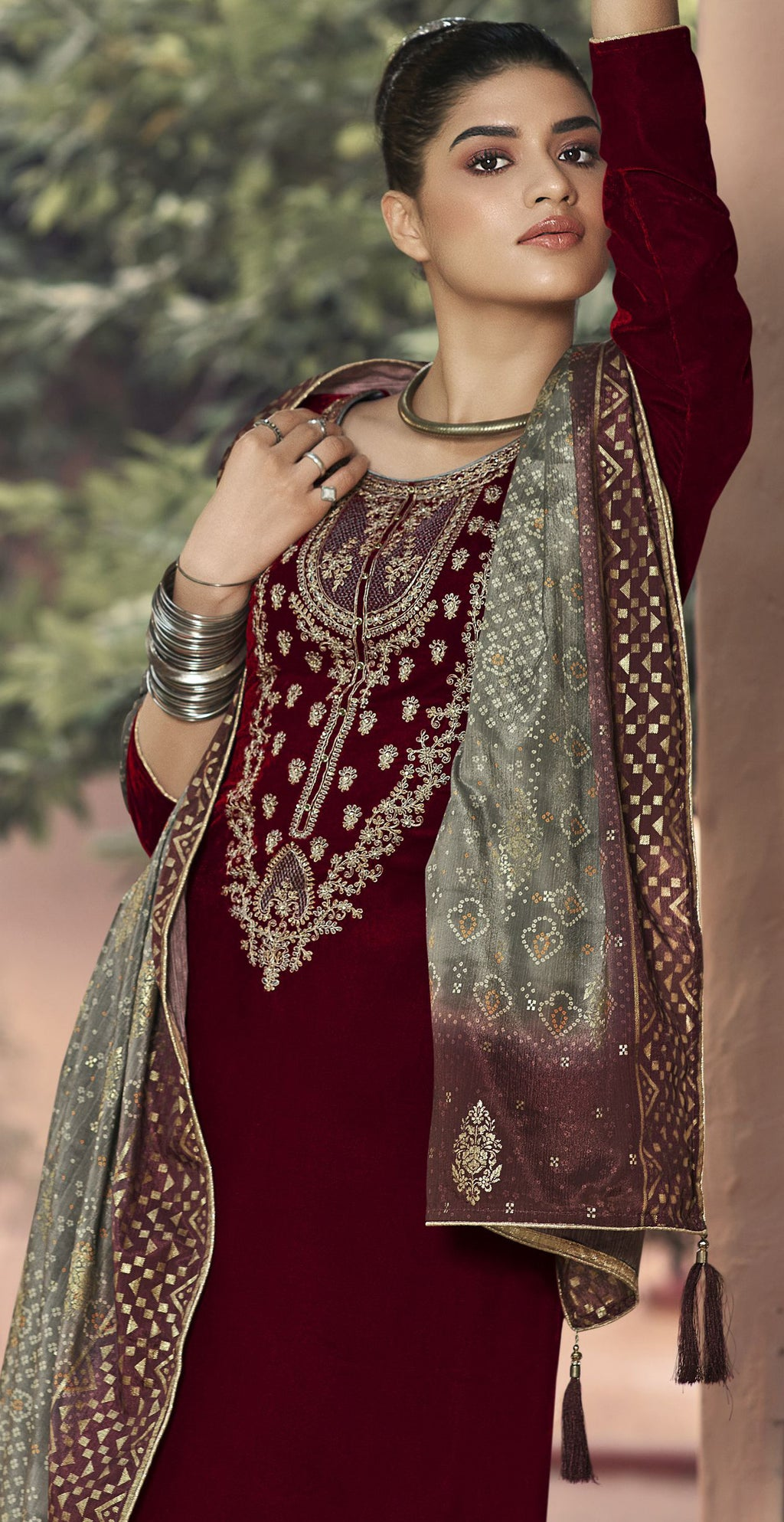 Maroon Color Velvet Function Wear Semi-Stitched Suits NYF-9193