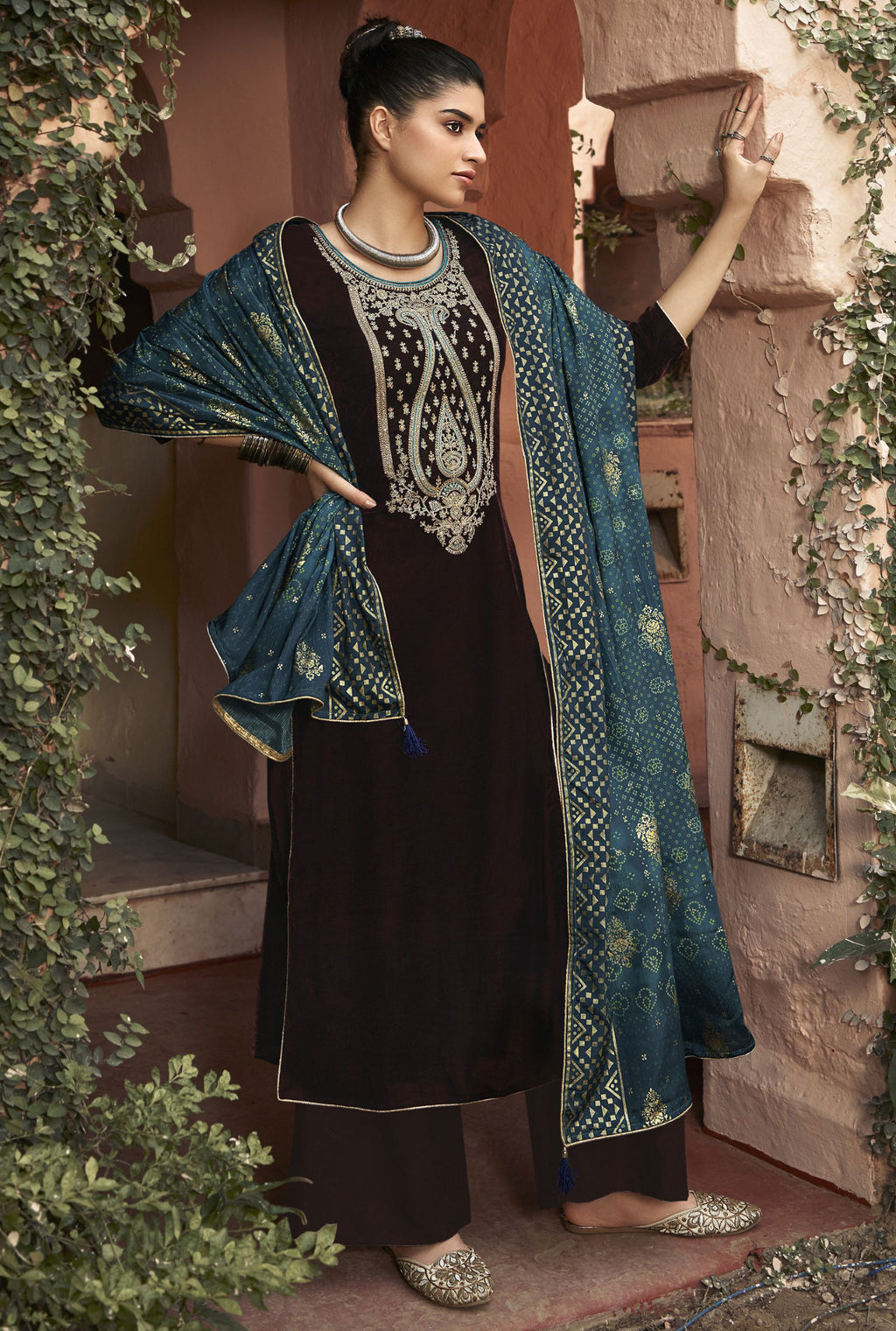 Brown Color Velvet Function Wear Semi-Stitched Suits NYF-9194