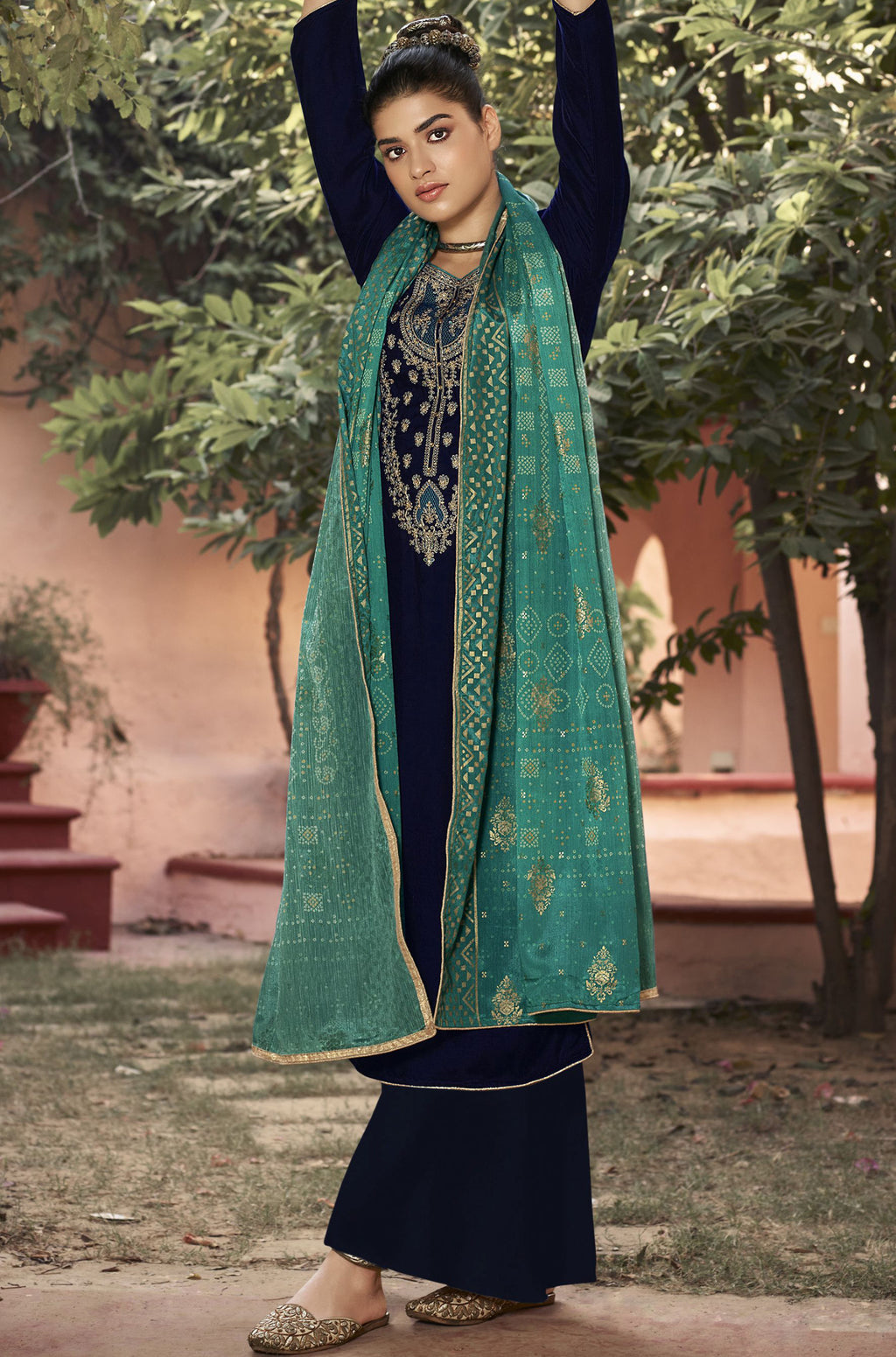Navy Blue Color Velvet Function Wear Semi-Stitched Suits NYF-9195