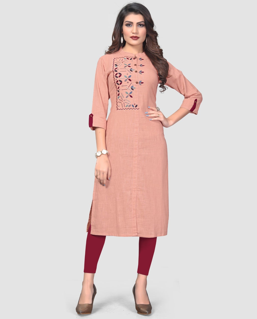 Peach Color Cotton Casual Wear Kurtis NYF-8879