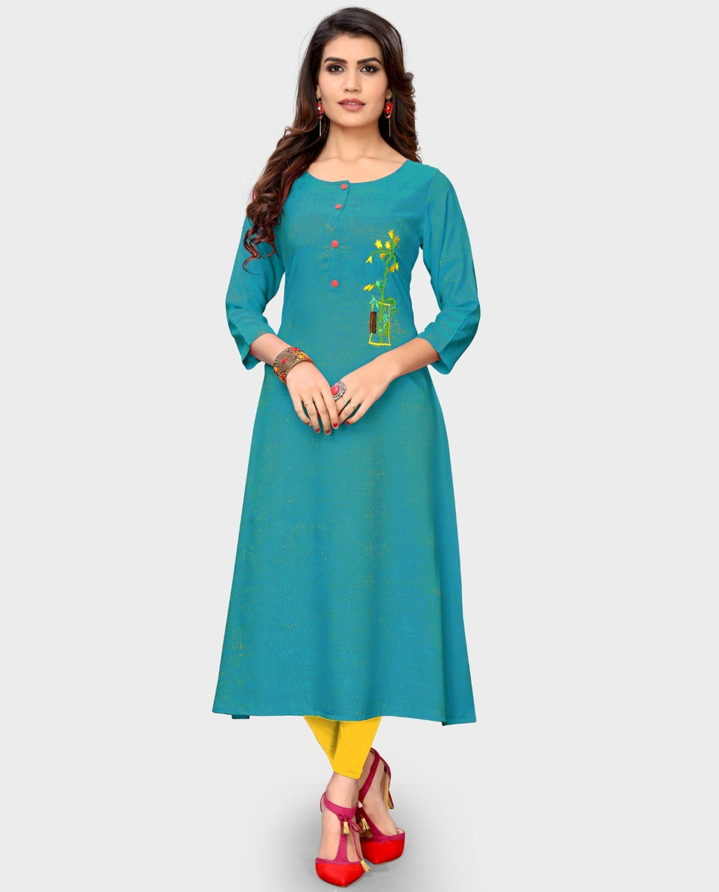 Aqua Blue Color Rayon Casual Wear Kurtis NYF-8894