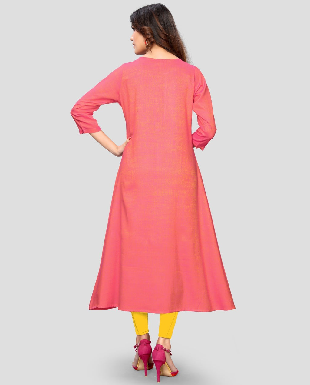 Pink Color Rayon Casual Wear Kurtis NYF-8900
