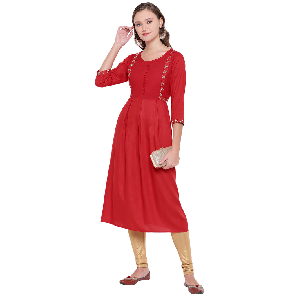 Red Color Rayon Casual Wear Kurtis NYF-8908